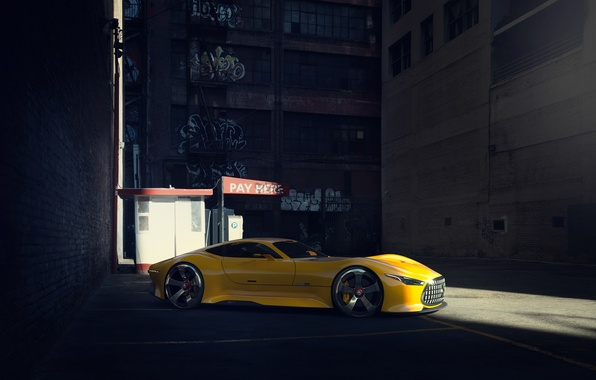 Картинка Mercedes-Benz, Car, Vision, AMG, Yellow, GT