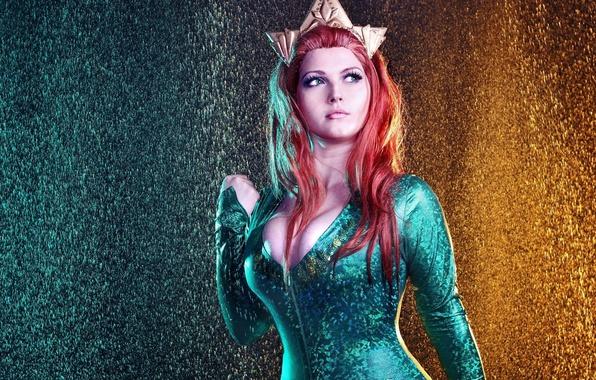 Картинка red, girl, red hair, big, pretty, redhead, cosplay, oppai, Aquaman, bishojo, Justice League, Mera, tekai