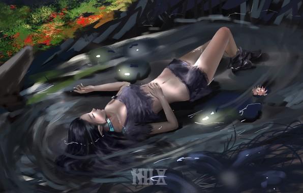 Картинка вода, девушка, ночь, лежит