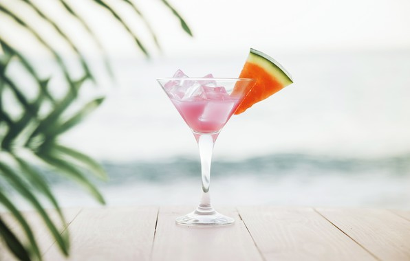 Картинка песок, море, пляж, лето, отдых, арбуз, коктейль, summer, beach, каникулы, fresh, sea, sand, drink, cocktail, …