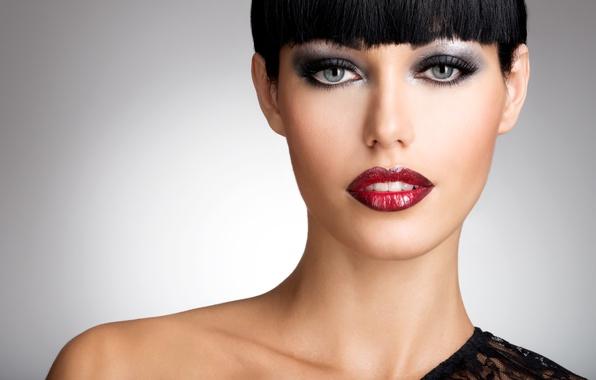 Картинка взгляд, девушка, волосы, стрижка, макияж, прическа, тени, girl, серые глаза, чёлка, make up