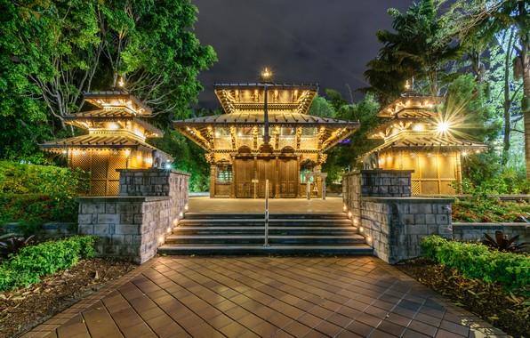 Фото обои ночь, Австралия, храм, мегаполис, Брисбен