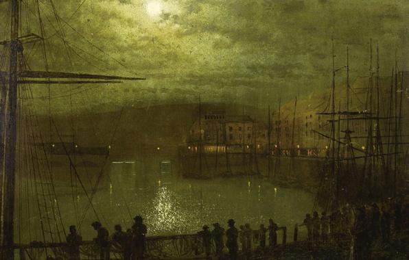 Картинка облака, ночь, люди, корабль, картина, Луна, мачта, гавань, городской пейзаж, Джон Эткинсон Гримшоу, John Atkinson …
