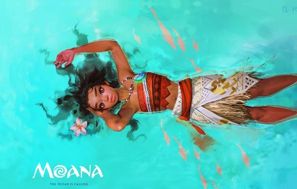 Картинка девушка, океан, мультфильм, арт, детская, Q - peng, Moana Fan art