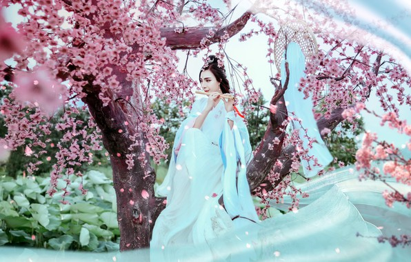 Картинка девушка, музыка, сад