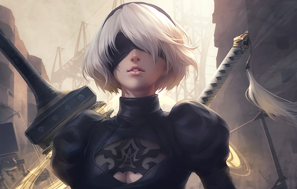 Картинка girl, sword, white, game, black, android, art, beautiful, katana, square enix, factory, nier, town, Destruction, …
