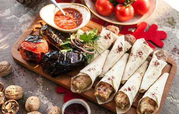 Картинка еда, баклажан, соус, рулетики