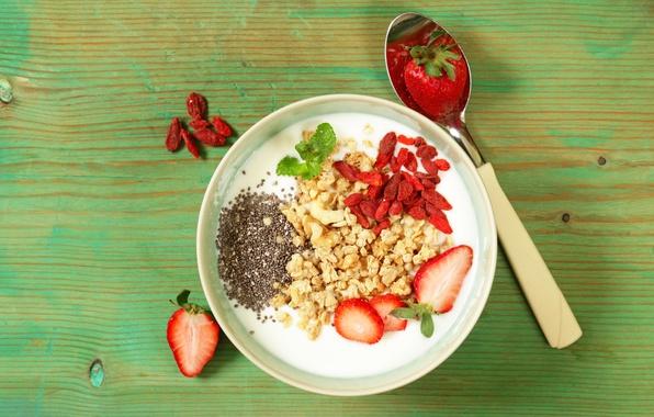 Картинка ягоды, завтрак, мюсли, йогурт