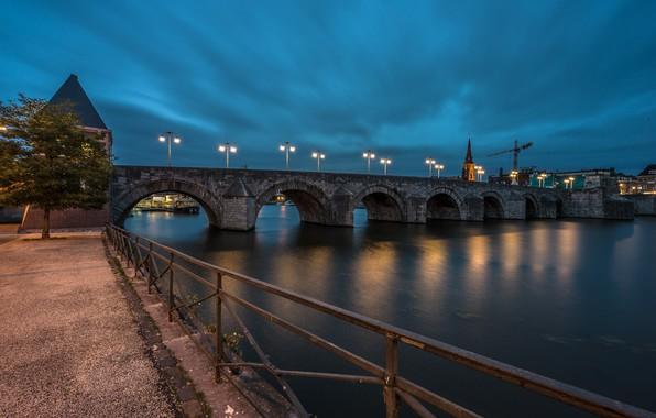 Картинка ночь, мост, огни, Нидерланды, Голландия, Maastricht