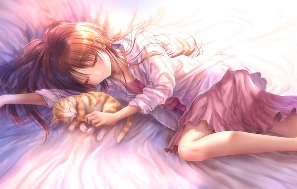 Картинка кошка, кот, аниме, арт, спит, девочка