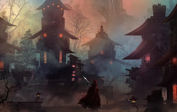 Картинка city, light, fantasy, night, mood, loneliness, hero, digital art, buildings, artwork, warrior, fantasy art, lanterns, …