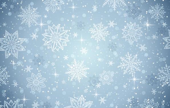 Обои зима, снежинки, фон, winter, background, snowflakes