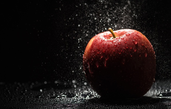 Картинка вода, капли, яблоко, фрукты