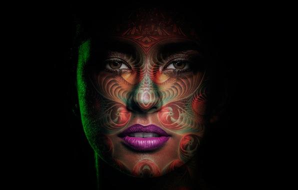 Картинка девушка, портрет, макияж, арт, роспись, грим, Мама Килья, Mama Killa, богиня луны