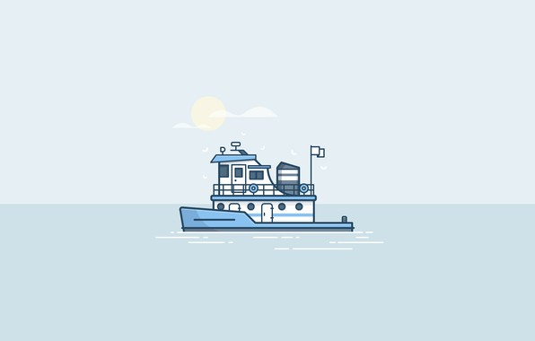 Картинка море, вода, солнце, корабль