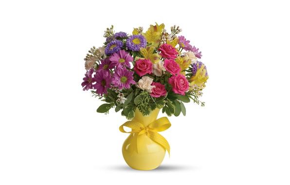 Картинка цветы, розы, букет, белый фон, ваза, астры, альстрёмерия