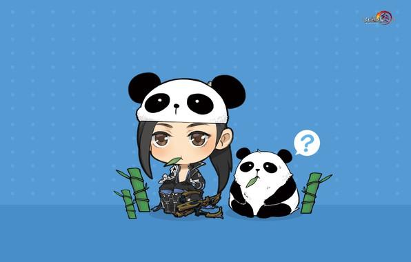 Картинка игра, аниме, бамбук, арт, панда, пет, Джиан Ванг, Тибетский меч
