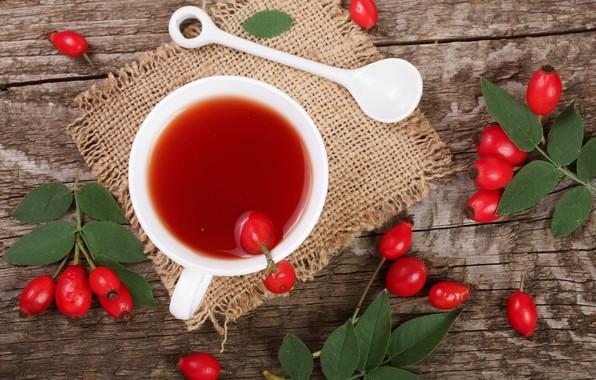 Картинка чай, шиповник, ложка, чаепитие