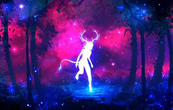 Картинка лес, фиолетовый, трава, вода, девушка, космос, звезды, деревья, ветки, светлячки, дерево, сиреневый, розовый, голубой, темный, …