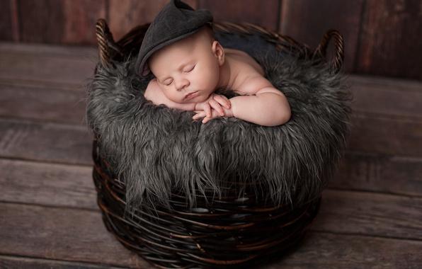 Картинка корзина, доски, мальчик, малыш, мех, кепка, ребёнок, младенец