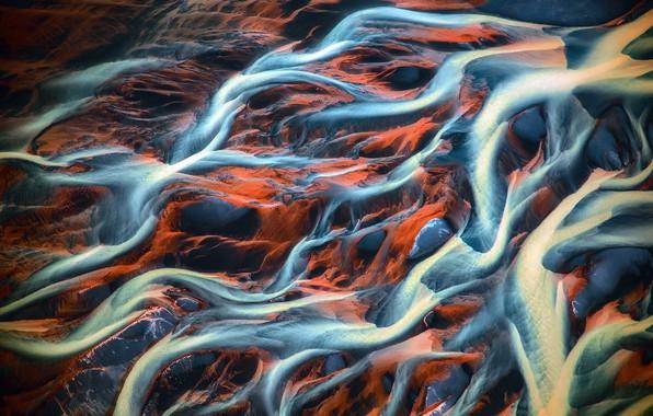 Картинка вода, земля, грязь, вены, реки, вид сверху