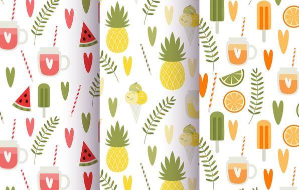 Картинка лето, фон, текстура, summer, фрукты, vintage, patterns, Leaves, Fruit, Juice, Pineapple