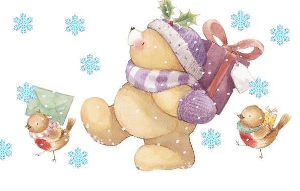 Картинка зима, письмо, снежинки, настроение, праздник, подарок, арт, мишка, Новый год, птички, детская, Forever Friends Deckchair …