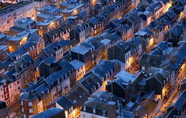 Картинка крыша, ночь, улица, Франция, дома, панорама, Нормандия, Ле-Трепор