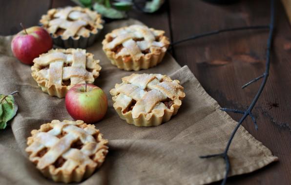 Картинка яблоки, еда, выпечка, сахарная пудра, начинка, корзиночки
