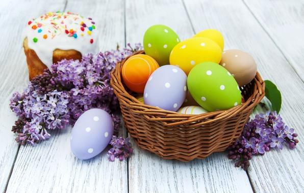 Картинка цветы, Пасха, cake, кулич, flowers, выпечка, сирень, глазурь, spring, Easter, eggs, decoration, Happy, lilac, яйца …