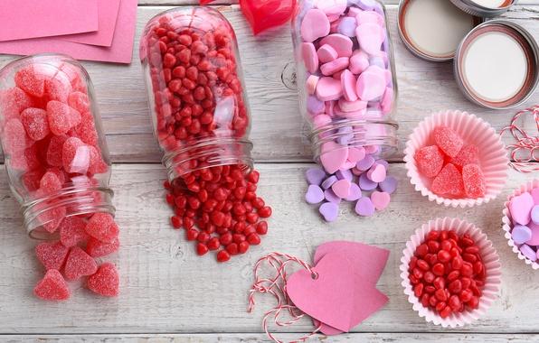 Картинка конфеты, сердечки, love, pink, romantic, hearts, sweet, мармелад, candy