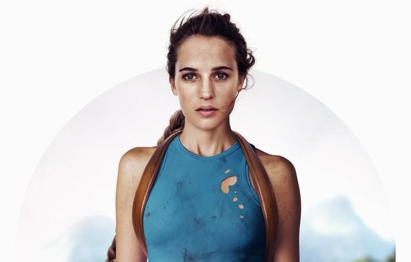 Картинка белый фон, Tomb Raider, Лара Крофт, постер, Алисия Викандер, Alicia Vikander