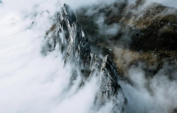 Картинка облака, горы, природа, туман, скалы