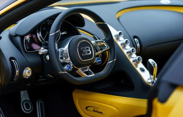 Картинка Bugatti, салон, 2018, Chiron, Yellow and Black