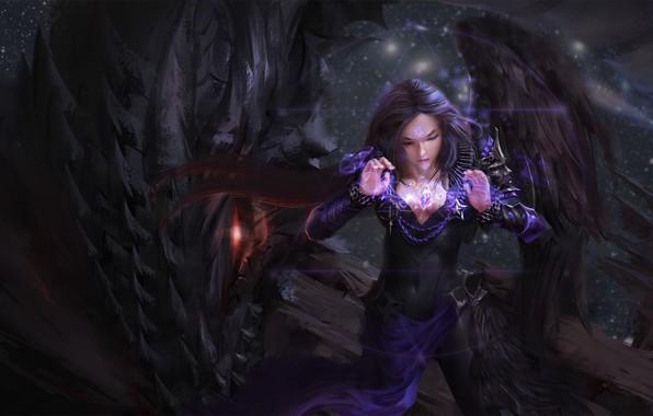 Картинка dark, girl, fantasy, Dragon, magic, wings, red eyes, symbol, brunette, artwork, wizard, fantasy art, pentacle