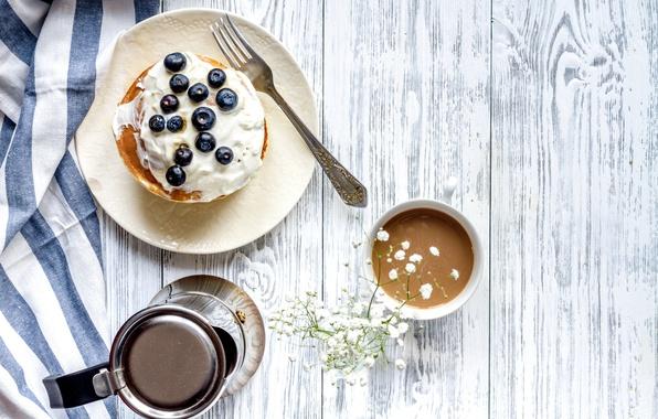 Картинка ягоды, завтрак, черника, блины, wood, какао, breakfast