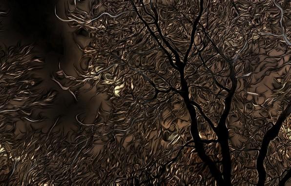 Картинка осень, ночь, тучи, рендеринг, дерево, ветви, луна, мрак, обработка, ненастье
