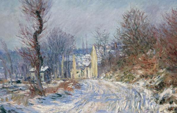Фото обои снег, пейзаж, дом, дерево, картина, Claude Monet, Клод Моне, Дорога в Живерни Зимой