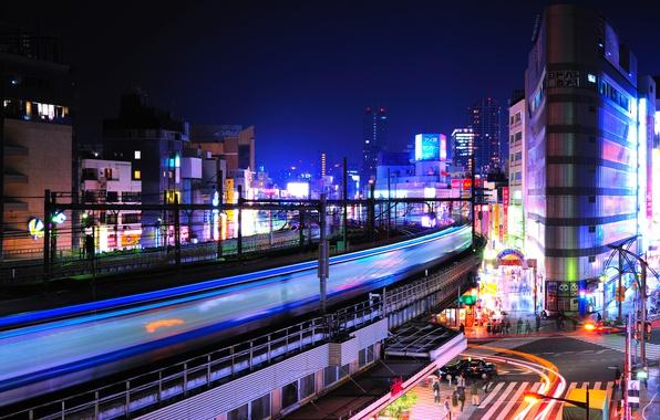 Картинка ночь, огни, перекресток, Tokyo, Japan, Уэно