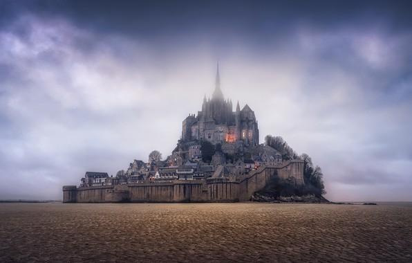 Картинка небо, скала, Франция, панорама, крепость, France, Нормандия, Normandy, Мон-Сен-Мишель, Mont Saint-Michel
