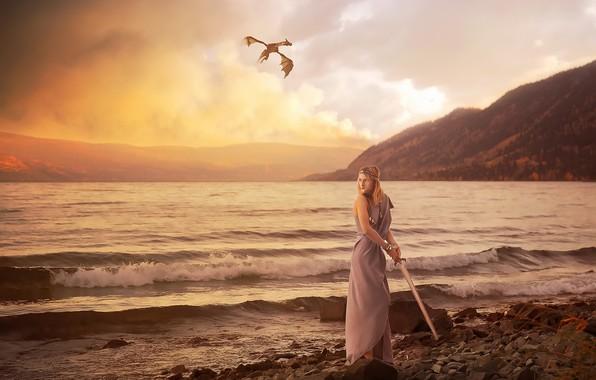 Картинка море, девушка, дракон, меч