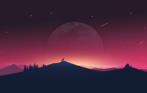 Картинка закат, луна, волк, art, wolf
