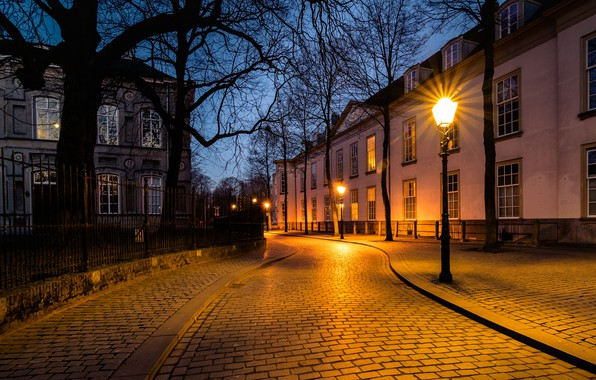 Картинка улица, вечер, фонари, Нидерланды, Голландия, Breda, Бреда