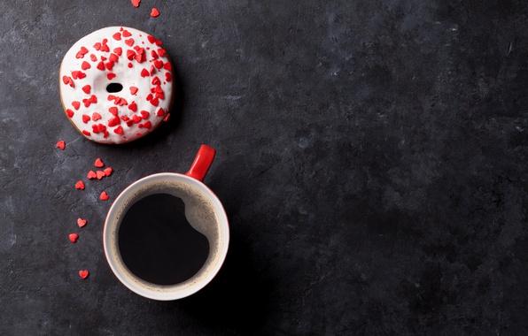 Картинка кофе, пончик, cup, глазурь, coffee, donut