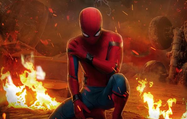 Картинка фантастика, огонь, кадр, искры, костюм, комикс, Spider-Man, Peter Parker, Человек-Паук, Tom Holland, Том Холланд, Spider-Man: …