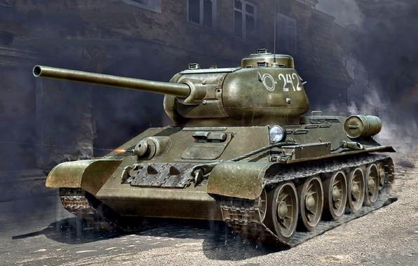 Картинка Рисунок, СССР, Танк, Великая Отечественная война, Советский, WW2, Средний, Т-34-85