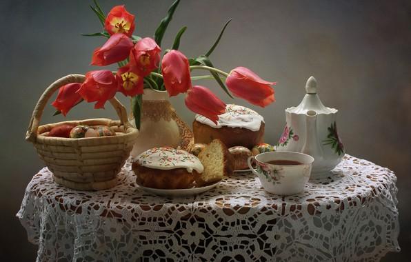 Картинка цветы, стол, праздник, чай, корзина, яйца, чайник, пасха, чашка, тюльпаны, тарелки, красные, ваза, натюрморт, скатерть, …