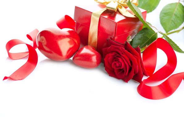 Картинка коробка, подарок, сердце, роза, colorful, лента, rose, flower, heart, Valentine's Day, gift, день Святого Валентина