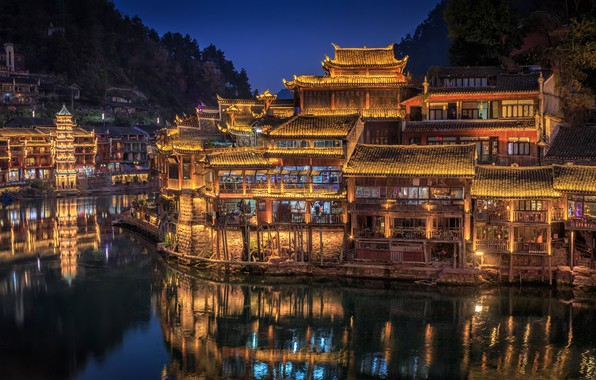 Картинка деревья, ночь, огни, река, дома, Китай, Hunan Province
