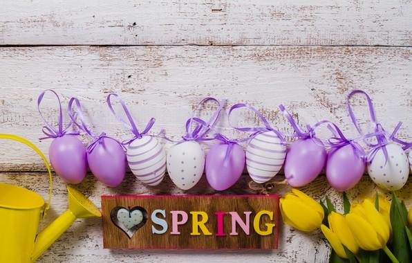 Картинка цветы, весна, желтые, colorful, Пасха, тюльпаны, flowers, tulips, spring, Easter, purple, eggs, decoration, Happy, яйца …